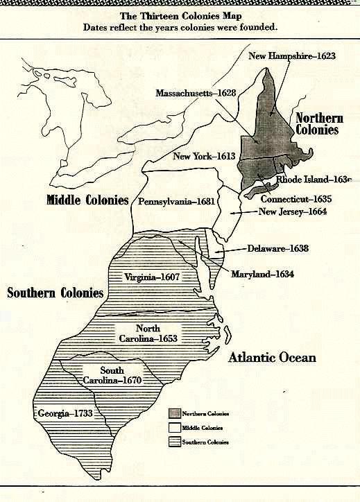 Map Of 13 Colonies By Region The Thirteen Colonies Were