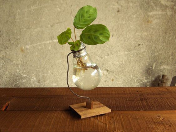 Recycled light bulb vase wooden stand upcycled by Paladim on Etsy, $14.00
