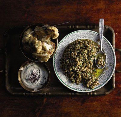 roasted cauliflower, tahini sauce, lentils