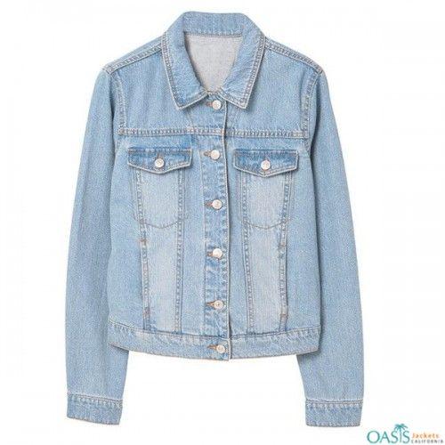 Wholesale Washed Out Denim Jacket Light Wash Denim Jacket Long Sleeve Denim Jacket Wholesale Denim Jackets