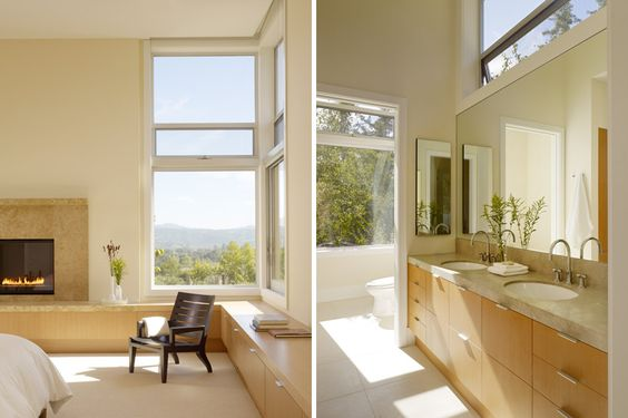 """Hearth treatment. """"Whitehall Lane"""" in St. Helena, CA: residence by architects Dowling Studios"""