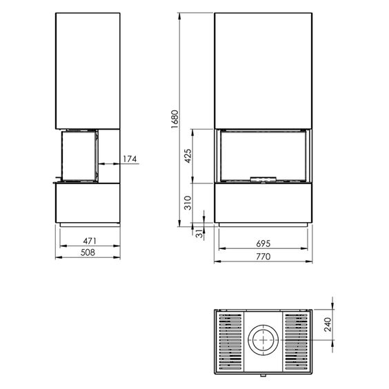 Kaminbausatz Nordpeis Monaco ansehen ✓ 3 seitige Verglasung ✓ 8 kW + Wärmespeicher ✓ Lastschrift ✓ Bequem aufbauen lassen