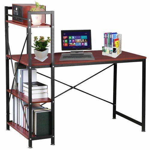 4 Tier Shelving Desk 17 Stories Colour Top Frame Brown Black Home Office Table Diy Storage Shelves Furniture