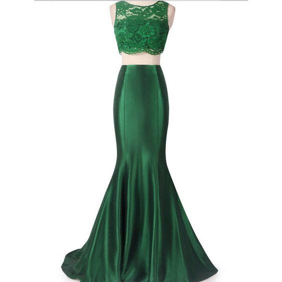 Mermaid Wedding Dresses Polyvore : Floor length emerald green lace mermaid dress piece