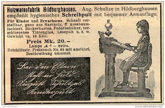 Original-Werbung/Anzeige 1909 - SCHREIBPULT / HOLZWARENFABRIK HILDBURGHAUSEN ca. 90 x 60 mm