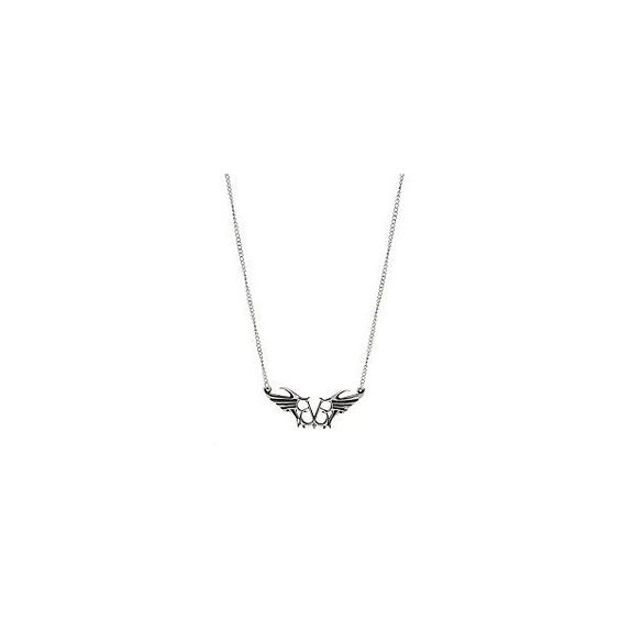 Black Veil Brides Logo Necklace | Hot Topic ❤ liked on Polyvore featuring jewelry, necklaces, chain jewelry, bride jewelry, black jet jewelry, wing jewelry and black chain necklace