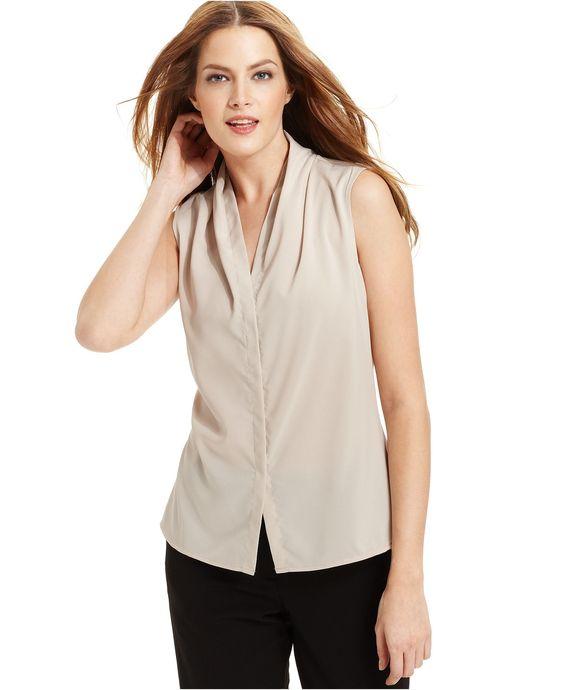 Calvin Klein Top, Sleeveless V-Neck Blouse - Womens Tops - Macy's ...