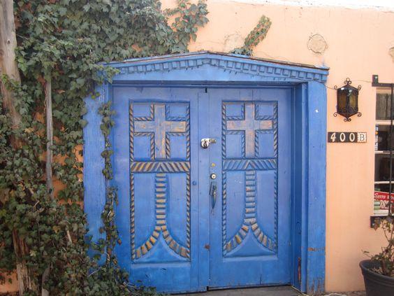 cross & rope detail: Mexican Doors, Architecture Doors, Albuquerque Nm, Blue Doors, Artistic Mexican, Doors Gates, Painted Doors, Cross Doors