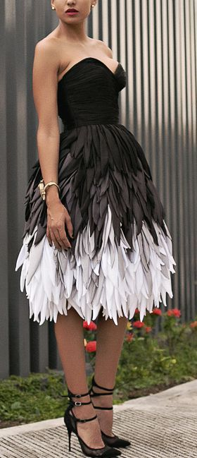 Couture black and white feather dress