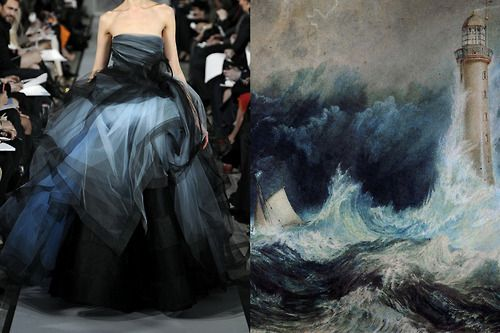 Match #192 // Posting this match in honour of the fashion legend Oscar de la Renta, such an inspiration for so many people. His creations were real works of art. // Oscar de la Renta Fall 2012 | The Bell Rock Lighthouse (detail) by J.M.W. Turner, 1819