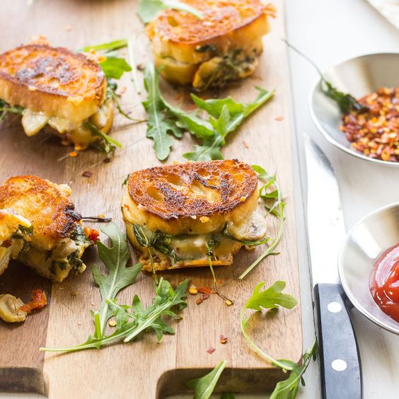 mushrooms grilled cheese sandwiches basil leaves baguette grilled ...