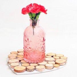 Botella de cristal vintage color rosa