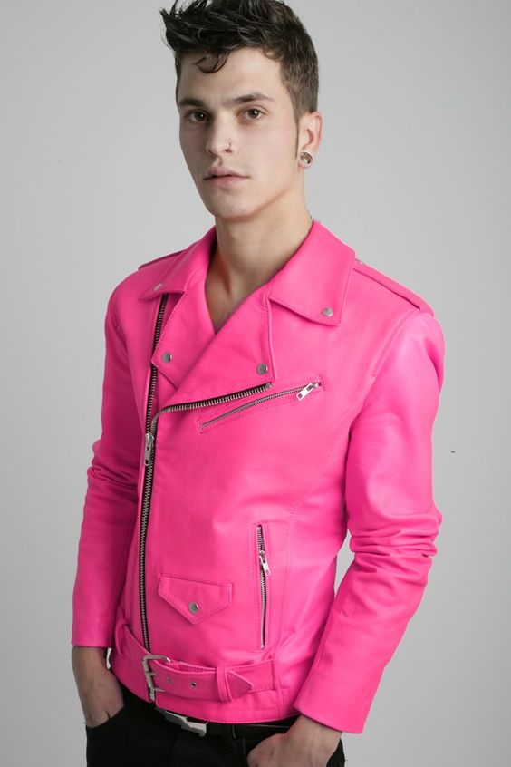 Pink leather jacket for sale – Modern fashion jacket photo blog