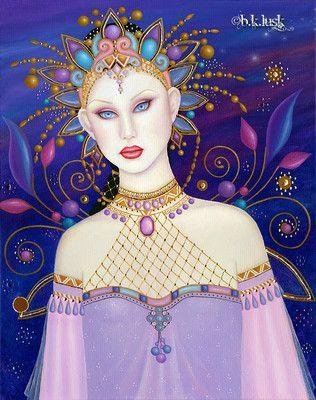 Wow! Oil #Painting Art Nouveau Mehndi #Fairy India Flowers Jewel Gold Leaf Fantasy Lusk