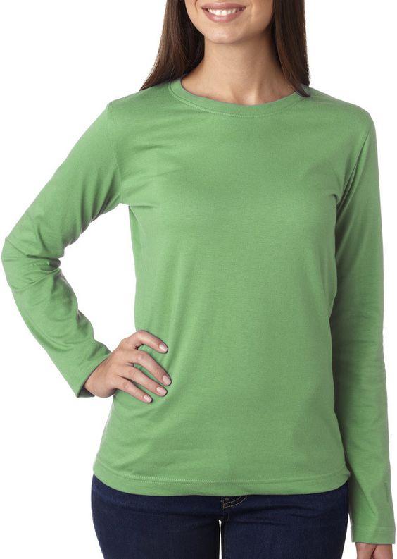la t ladies' combed ring-spun jersey long-sleeve t-shirt - grass (s)