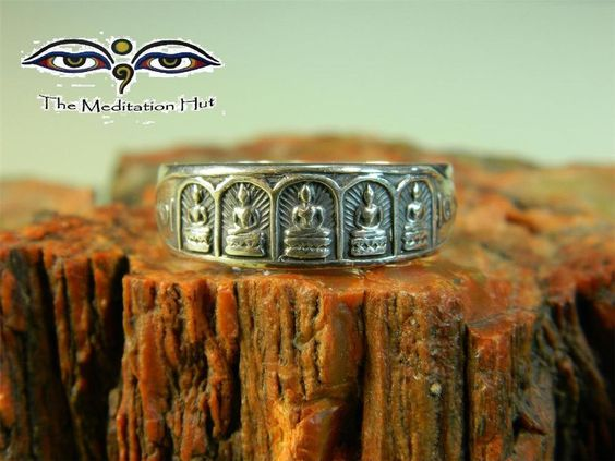 Temple Inspired Five Buddha Ring Mens - Handcrafted Fine Silver