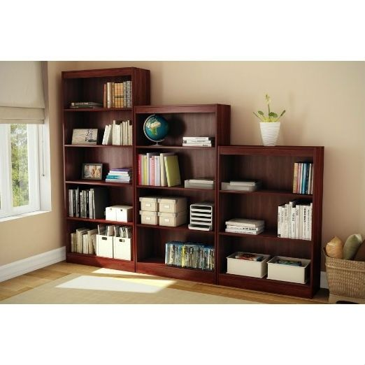 Contemporary 5 Shelf Bookcase Bookshelf In Royal Cherry Wood Finish Shelves Contemporary Bedroom Furniture Bookcase