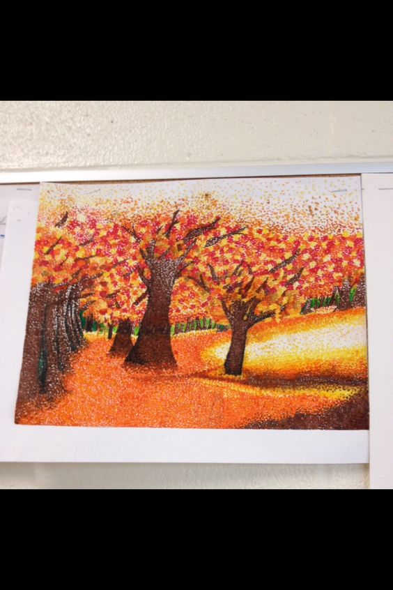 Pointillism and shading with landscapes.