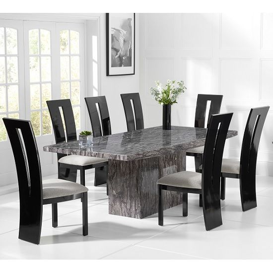 Kempton Marble Dining Table In Grey With 6 Ophelia Grey Chairs In