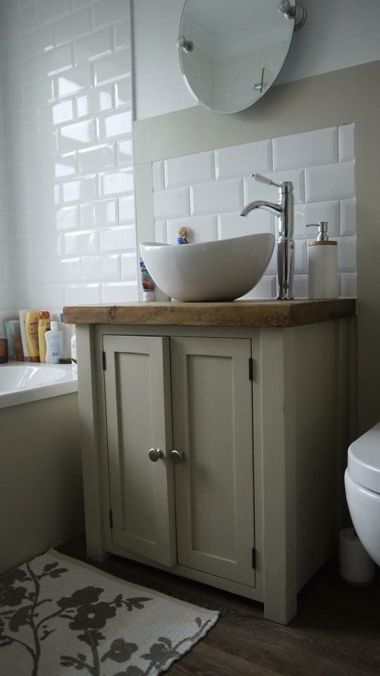 Details about chunky rustic painted bathroom sink vanity unit wood ...