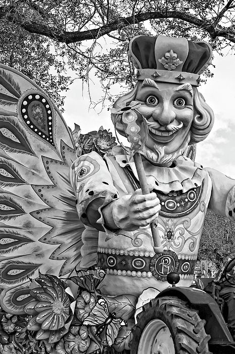 Rex Rides In New Orleans Bw.  One of the colorful floats in the big Rex Mardi Gras parade in New Orleans.