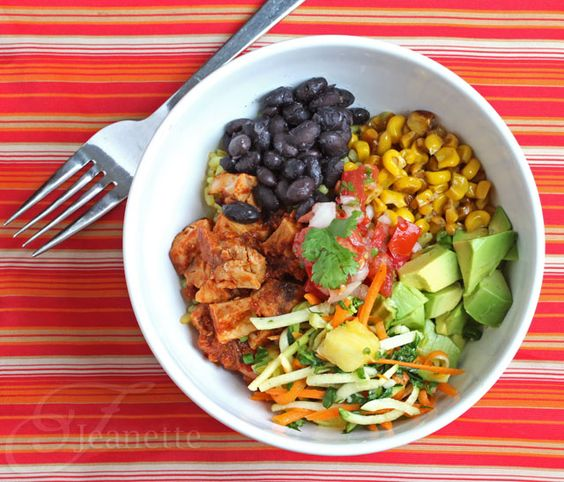 Cha Cha Bowl with all the fixings (Mexican Chicken Rice Bowl) via http://JeanettesHealthyLiving.com #chicken #glutenfree #healthy #food #recipe