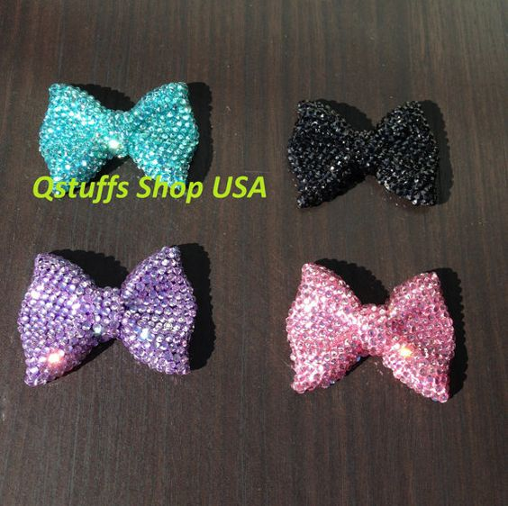 DIY hello kitty BOW ribbon with high quality crystals ready to be use on phone case/ shoes / laptop
