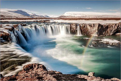 "Wandbild ""Winterwunderland #Island: #Godafoss"" - #nature #adventure #travel #Reisen #einzigartig"