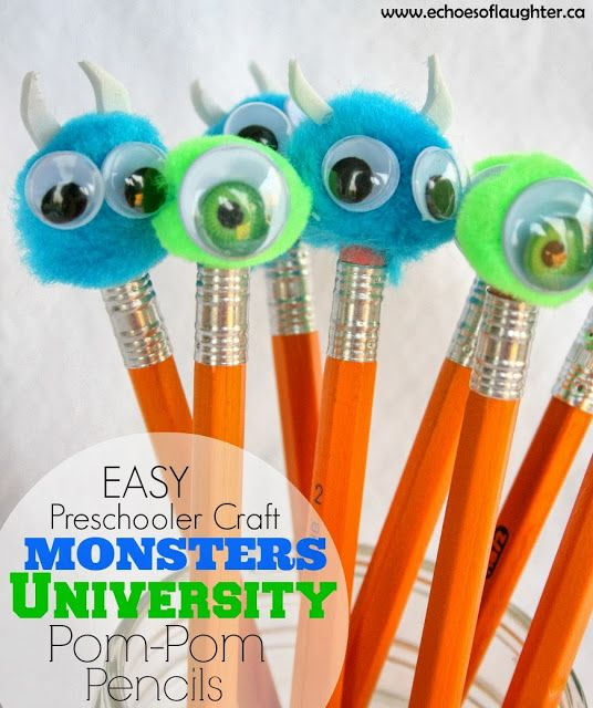 Monsters University Pom Pom Pencils (Craft)-great craft to make with pre-schoolers.