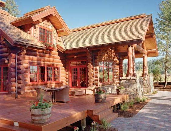 log home decks | handcrafted log homes - I like the deck