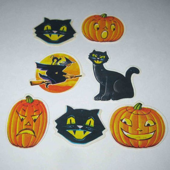 Vintage 1960s Halloween Stickers or Seals Black Cat Jack O Lantern Witch Set of 7 by grandmothersattic, $6.95