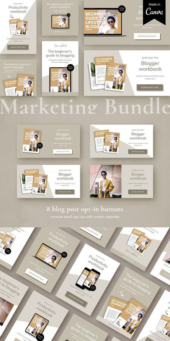 Lead Magnet Marketing Bundle Canva By Studio Loire On Creativemarket Pinterest Socialmedia Lead Magnet Marketing Blog Post Graphics Marketing Graphics