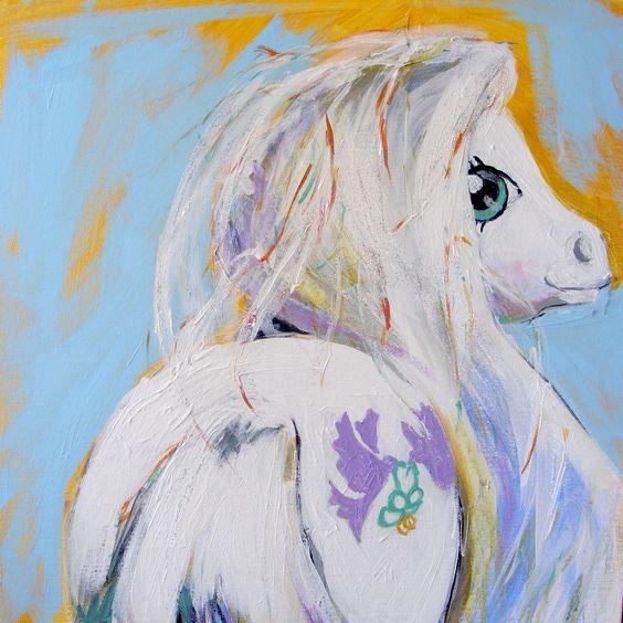 Pony Bride by Penny Tristram. 40x40cm, acrylic on canvas, 2013. My Little Pony. MLP.