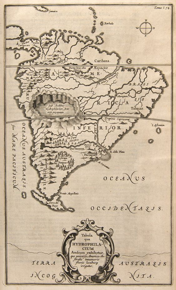 The whole Earth is not solid but everywhere gaping, and hollowed with empty rooms and spaces, and hidden burrows. An unusual map of South America showing a giant imaginary aquifer in the Andes Mountains, from Mundis Subterraneus (The Underground World) by Athanasius Kircher, 1665 (via Geisterseher)