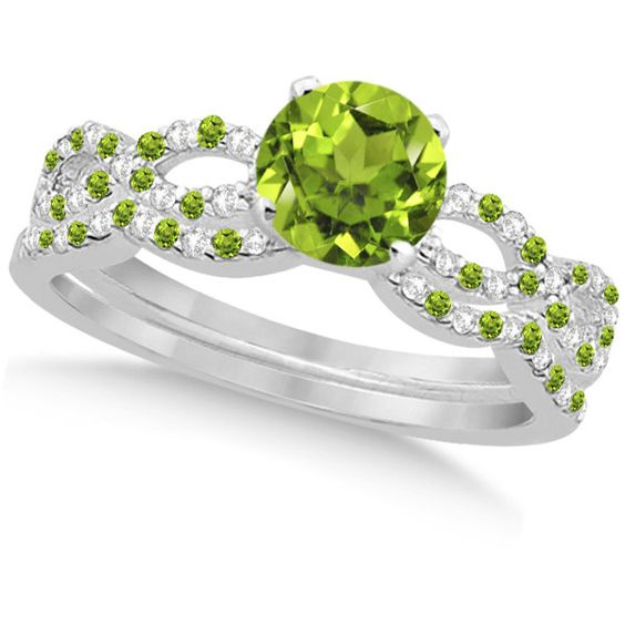 Allurez Infinity Style Peridot & Diamond Bridal Set 14k White Gold... ($1,880) ❤ liked on Polyvore featuring jewelry, rings, aneis, fairies, peridot ring, engagement rings, 14k diamond ring, diamond rings and infinity engagement ring