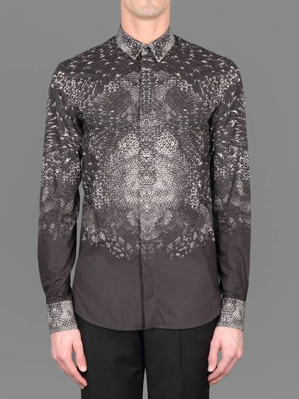 Silvery symphony w/ Alexander McQueen concealed button front shirt with python print #alexandermcqueen