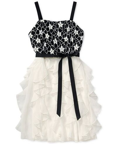 Bloome Girls' Floral-Bodice Cascade Dress