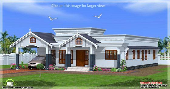 4 Bedroom Single Floor Kerala House Plan Bungalow House Design Kerala House Design One Bedroom House Plans