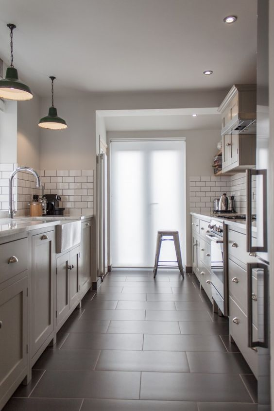 galley kitchen -  narrow width, door at end and store cupboard