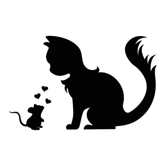 Wall tattoo mouse and cat in love silhouette digistamp for Silhouetten vorlagen