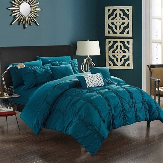 10 Piece Voni Pinch Pleated Ruffled And Pleated Complete Bed In A Bag Comforter Set Sheets Set And Decorative Pillows Included Comforter Sets Bed Linens Luxury Bedding Sets