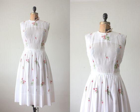 1950s dress - vintage 1950's pink rose party dress. $114.00, via Etsy.