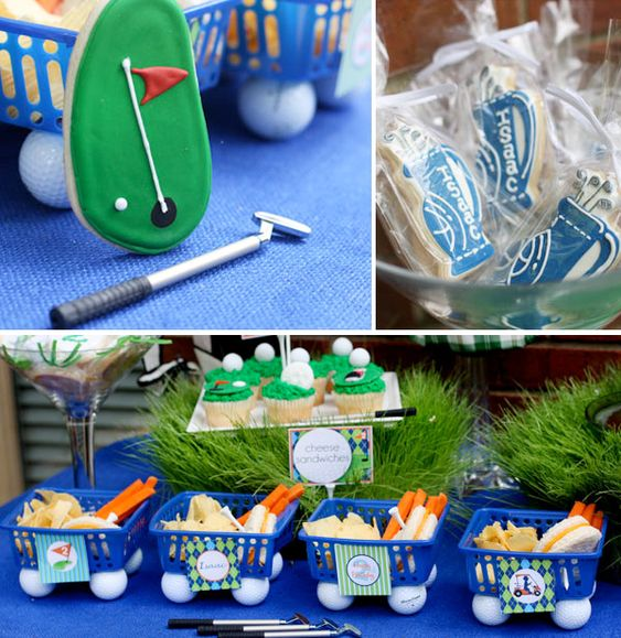 love the how the food is displayed for a golf party