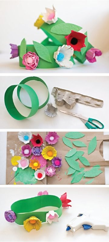 This diy egg carton flower crown is the perfect summer for Art and craft crown