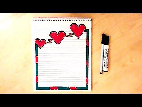 تزيين الدفاتر من الداخل بسيط خطوة بخطوة Simple Border Designs On Paper Youtube Borders For Paper Ribbon Embroidery Tutorial Colorful Borders Design