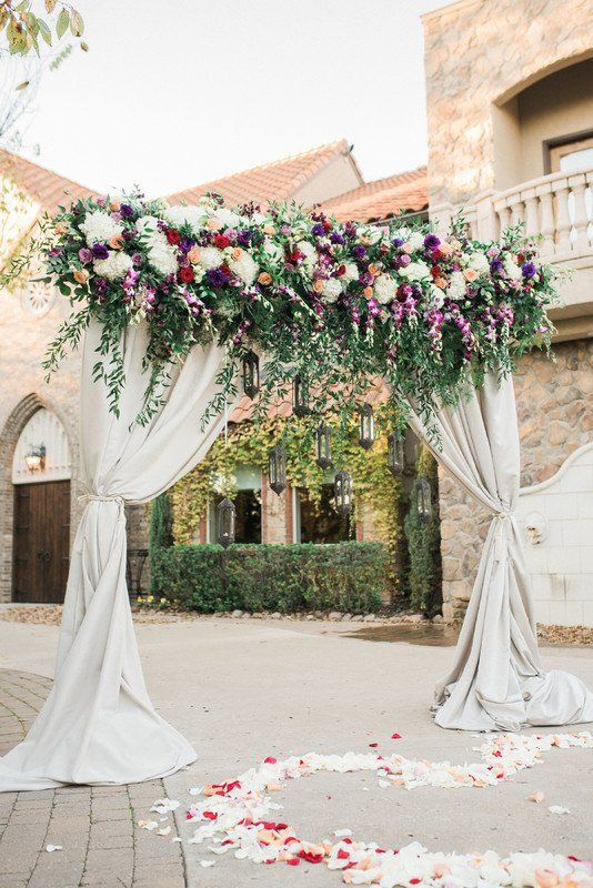 Romantic Floral Arch For Weddingceremony Draped Fabric With Greenery Garland And White Red Fl Wedding Archway Flower Backdrop Wedding Wedding Arch Flowers