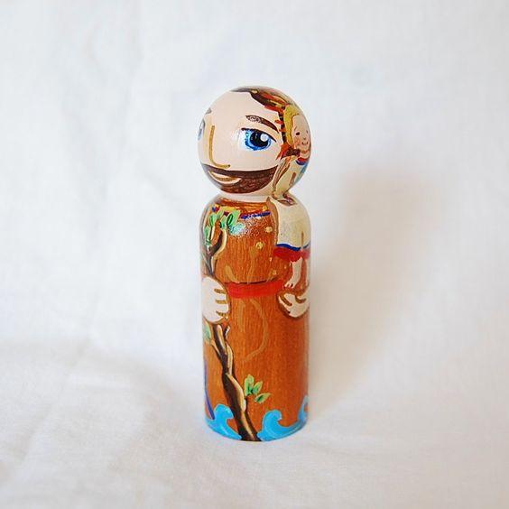 St Christopher Toy - Catholic Wooden Saint Doll