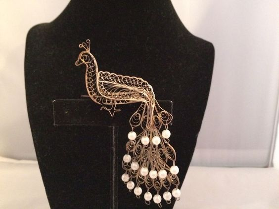ANTIQUE ARTISAN MADE FAUX PEARL SWIRLED FILIGREE LONG PEACOCK DANGLE BROOCH~  | eBay