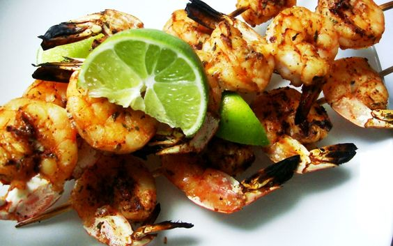 Spicy Lime Cilantro Barbecue Shrimp Skewers