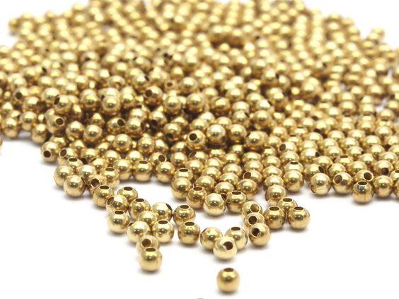 x50 perles rondes en laiton brut doré 3mm - C-J5 : Perles en Métal par…